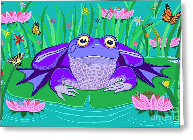 Dragon Lady Greeting Cards - Purple Frog on a Lily Pad Greeting Card by Nick Gustafson