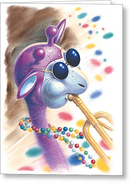 Giraffe Drawings Greeting Cards - Purple Giraffe Greeting Card by Todd Baxter