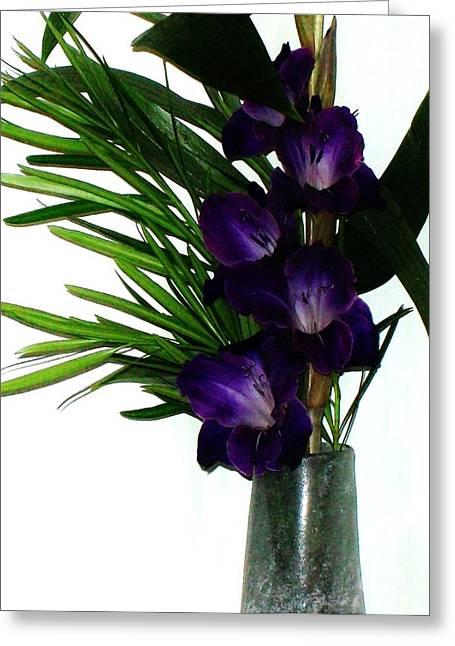 Purple Gladiolas Greeting Cards - Purple Gladiola Greeting Card by Marsha Heiken