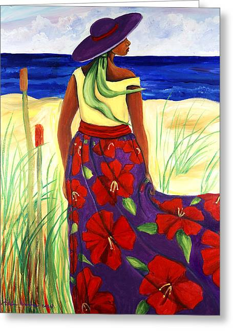 Purple Hat Greeting Card by Diane Britton Dunham