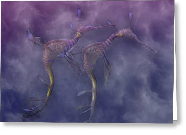 Sea Horse Greeting Cards - Purple Haze Greeting Card by Betsy C  Knapp