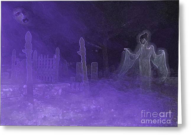 Creepy Digital Greeting Cards - Purple Haze Greeting Card by D Hackett