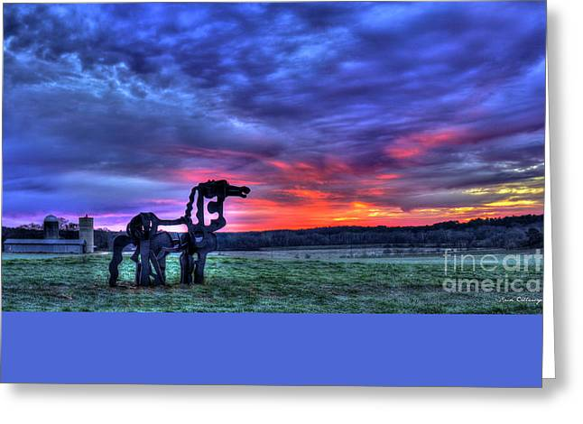 The Horse Greeting Cards - Purple Haze Sunrise The Iron Horse Greeting Card by Reid Callaway
