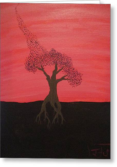Tree Roots Paintings Greeting Cards - Purple Leaf Greeting Card by Josh Butler