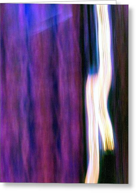 Recently Sold -  - Surreal Geometric Greeting Cards - Purple Light Greeting Card by Karin Kohlmeier