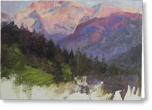 Hillsides Greeting Cards - Purple Majesty Plein Air Study Greeting Card by Anna Bain