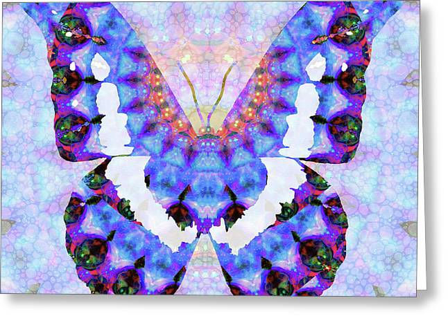 Purple Mandala Butterfly Art By Sharon Cummings Greeting Card by Sharon Cummings