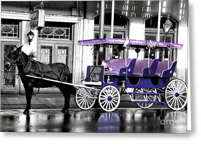 Photo Art Gallery Greeting Cards - Purple Mardi Gras Carriage Fusion Greeting Card by John Rizzuto