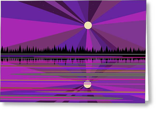 Moonrise Greeting Cards - Purple Moon Rise Greeting Card by Val Arie