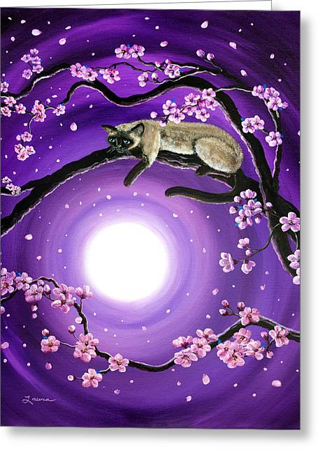 Pink Flower Branch Greeting Cards - Purple Moonlight Sakura Greeting Card by Laura Iverson