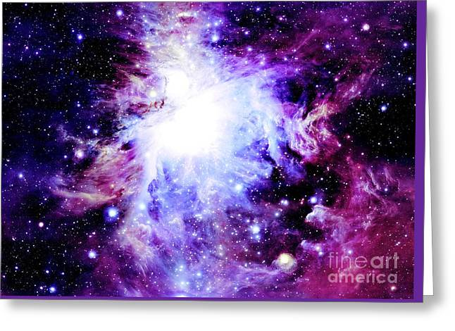 Constellations Greeting Cards - Purple Nebula Greeting Card by Johari Smith