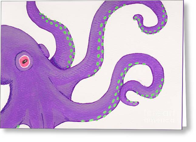 White Paintings Greeting Cards - Purple octopus Greeting Card by Stefanie Forck