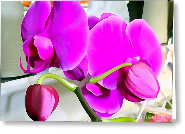 Abstract Digital Photographs Greeting Cards - Purple Orchids Greeting Card by Ed Weidman