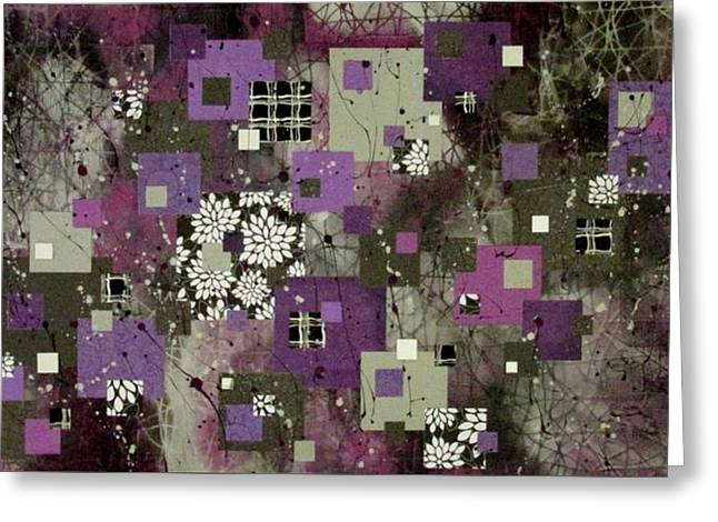 Geometric Style Greeting Cards - Purple Paradise Greeting Card by Angela Cannon