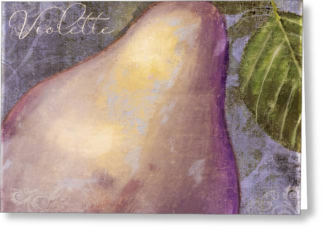 Purples Greeting Cards - Purple Pear Greeting Card by Mindy Sommers
