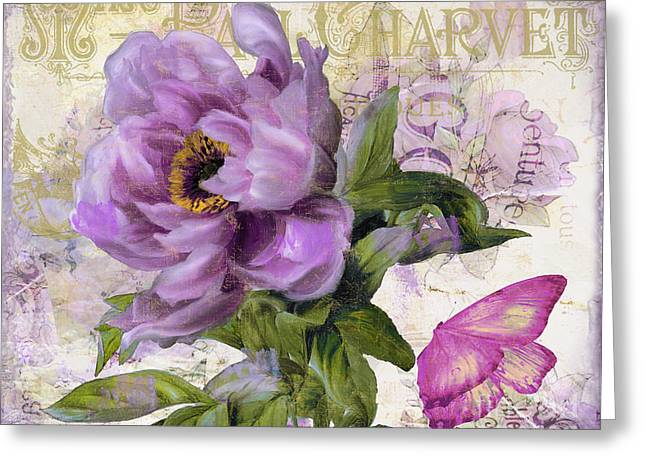 French Handwriting Greeting Cards - Purple Peony Greeting Card by Mindy Sommers