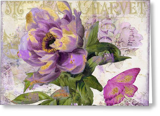 Purple Peony With Gold Greeting Card by Mindy Sommers