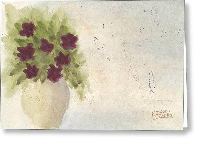 Loose Greeting Cards - Purple Petunias Greeting Card by Ken Powers