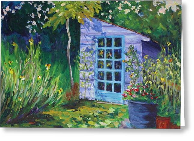 Shed Greeting Cards - Purple Potting Shed Greeting Card by Tara Moorman