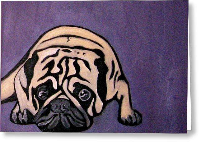 Darren Stein Paintings Greeting Cards - Purple Pug Greeting Card by Darren Stein