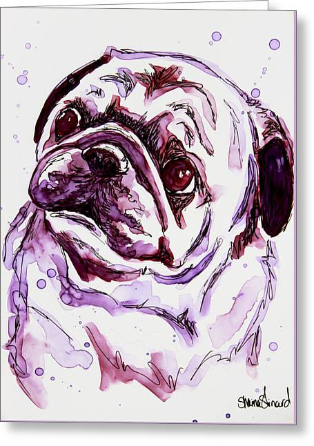 Purple Pug Greeting Card by Shaina Stinard