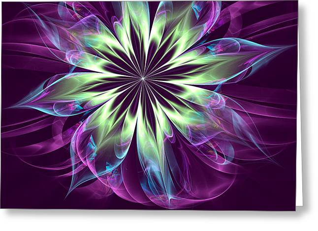 Generative Abstract Greeting Cards - Purple Reflections Greeting Card by Pam Amos