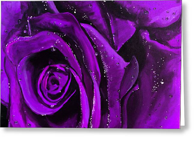 Tracy Hall Greeting Cards - Purple Rose Greeting Card by Natasha Walsh