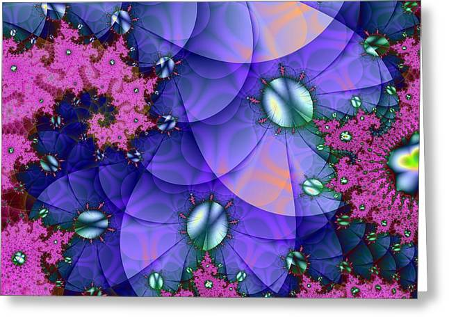 Fantasy Tree Greeting Cards - Purple Sand Dollar Swirl Greeting Card by Regina Rodella