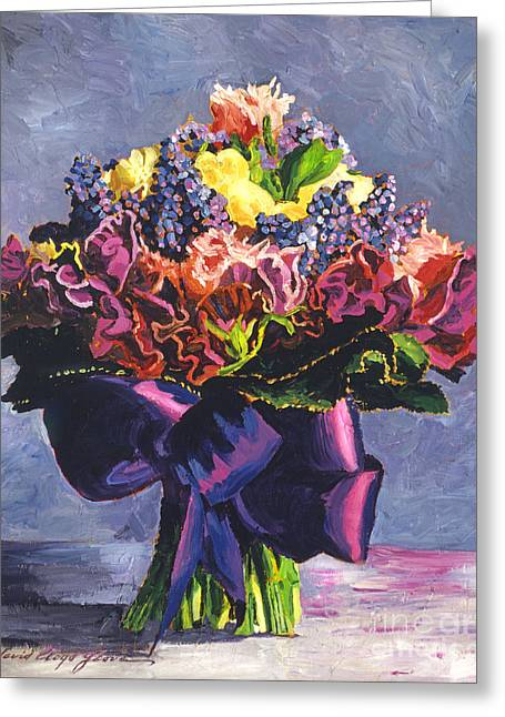 Flower Arrangements Greeting Cards - Purple Sash Bouquet Greeting Card by David Lloyd Glover