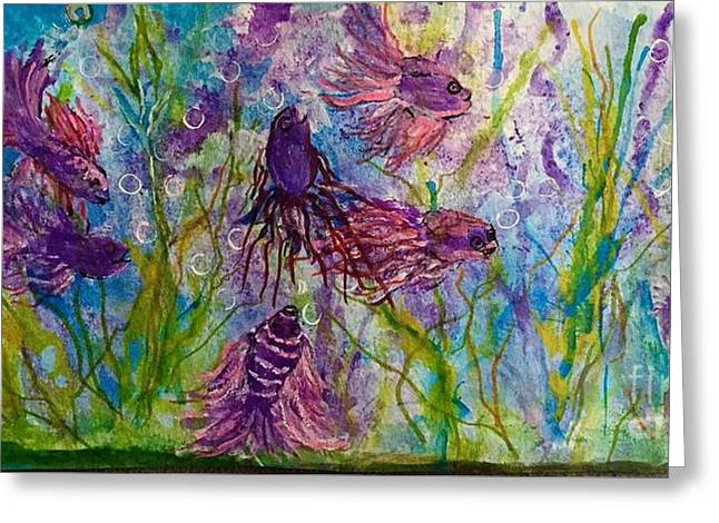 Betta Greeting Cards - Purple sea life party Greeting Card by Anne Sands