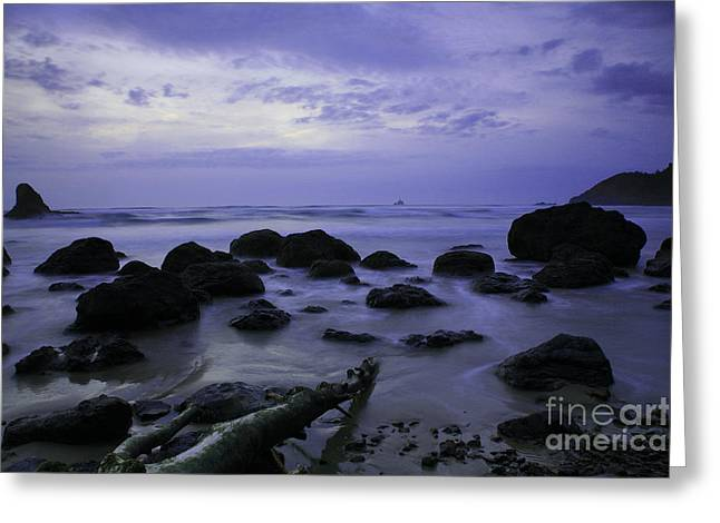 Tillamook Lighthouse Greeting Cards - Purple Skies Greeting Card by Timothy Johnson