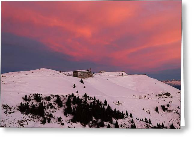 Snow Scene Landscape Greeting Cards - Purple sky Greeting Card by Davide Guidolin