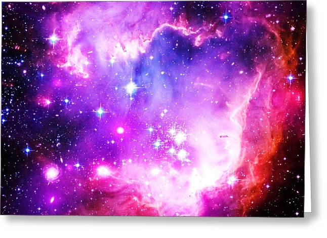 Constellations Greeting Cards - Purple Space Greeting Card by Johari Smith