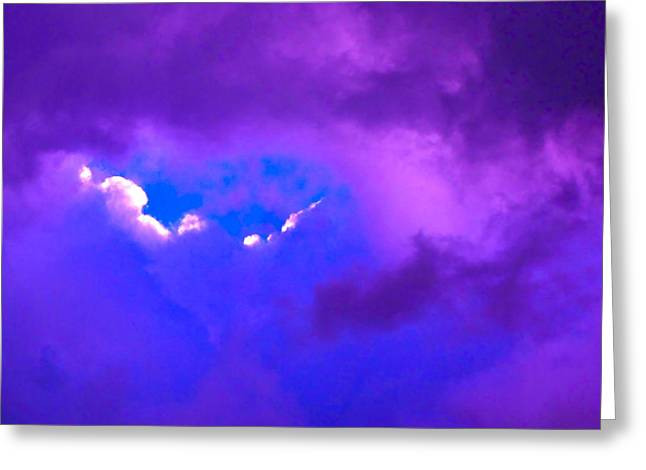 Colorful Cloud Formations Greeting Cards - Purple Storm Greeting Card by Gwyn Newcombe