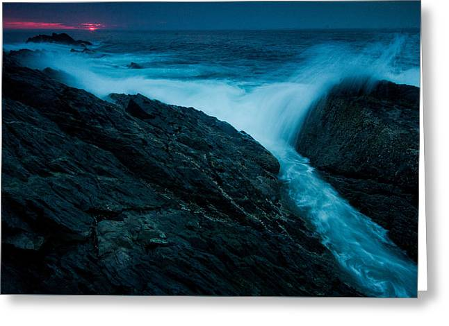 Waves At Sunrise Greeting Card by William Sanger