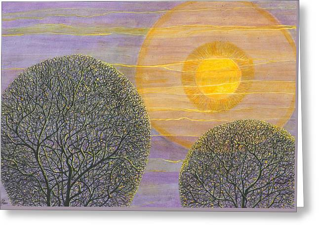 Purple Sunset Greeting Card by Charles Cater