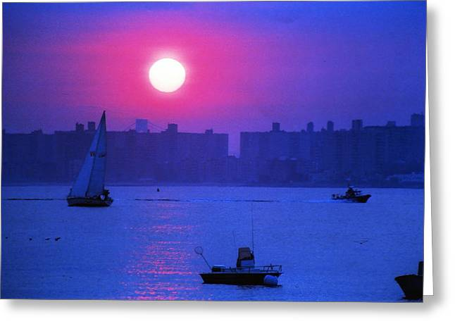 Breezy Greeting Cards - Purple Sunset off Breezy Point Bayside Greeting Card by Maureen E Ritter