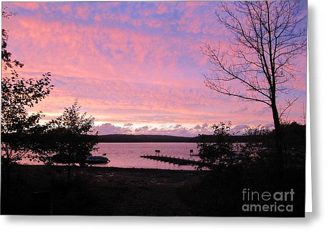 Sunset Prints Greeting Cards - Purple Sunset on the Lake Greeting Card by Deborah A Andreas