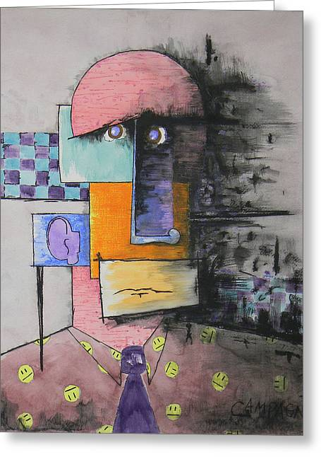 Smiley Faces Greeting Cards - Purple Tie Greeting Card by Teddy Campagna