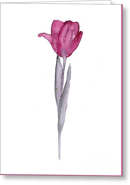 Purple Tulip Botanical Artwork Poster Greeting Card by Joanna Szmerdt