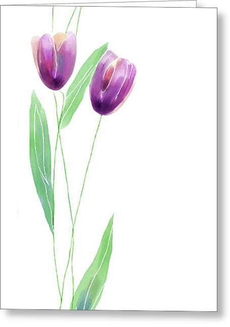 Floral Digital Art Greeting Cards - Purple Tulips Greeting Card by Arline Wagner