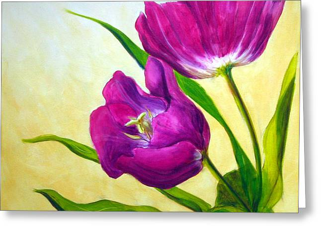 Purple Floral Greeting Cards - Purple Tulips Greeting Card by Scott Gordon