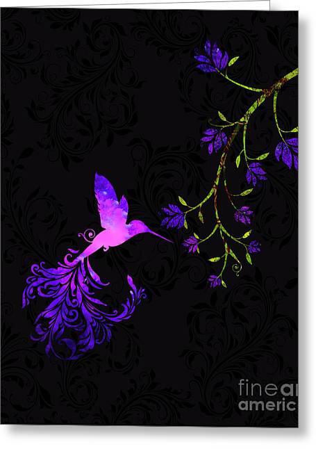 Purple Twilight Hummingbird Nature Batik Greeting Card by Tina Lavoie