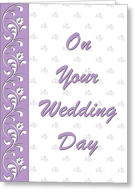 Special Occasion Greeting Cards - Purple Wedding Deco Greeting Card by JH Designs