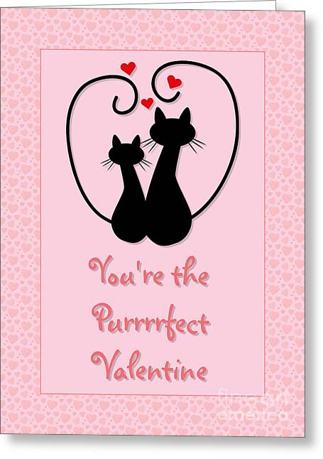 Purrrrfect Valentine Greeting Card by JH Designs