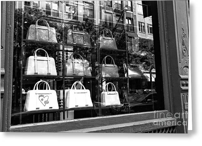 Fashion Photos For Sale Greeting Cards - Purses in the Window mono Greeting Card by John Rizzuto