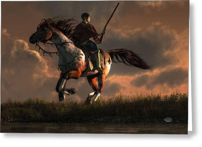 Horseback Riding Digital Greeting Cards - Pursued Greeting Card by Daniel Eskridge