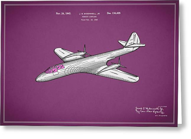 Airplane Greeting Cards - Pursuit Airplane Patent 1942 Greeting Card by Mark Rogan