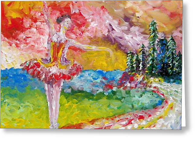 Ballet Dancers Greeting Cards - Pursuit of her dream Greeting Card by Aarron  Laidig