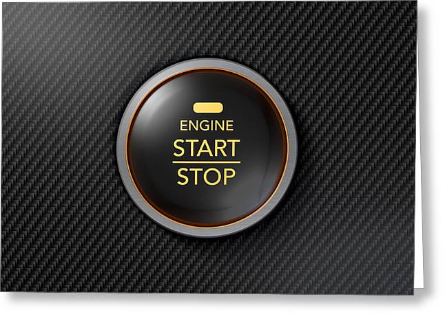 Ignition Greeting Cards - Push To Start Carbon Fibre Button Greeting Card by Allan Swart
